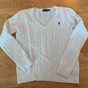 NWOT Polo Ralph Lauren Creme Wool V-Neck Sweater